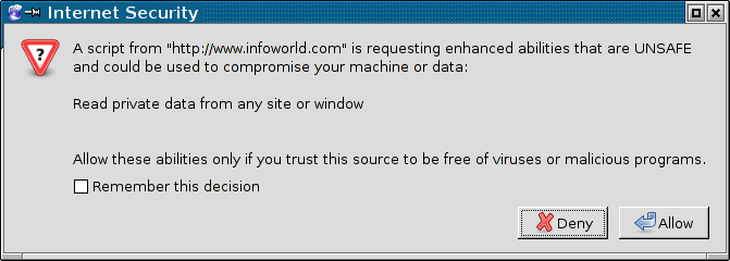 A dialog box said that a web page requested to be able to read private data from any site or window.